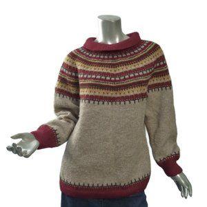 Hand Knit Nordic Sweater Husfliden Medium-Large Fairisle Pullover Roll Collar